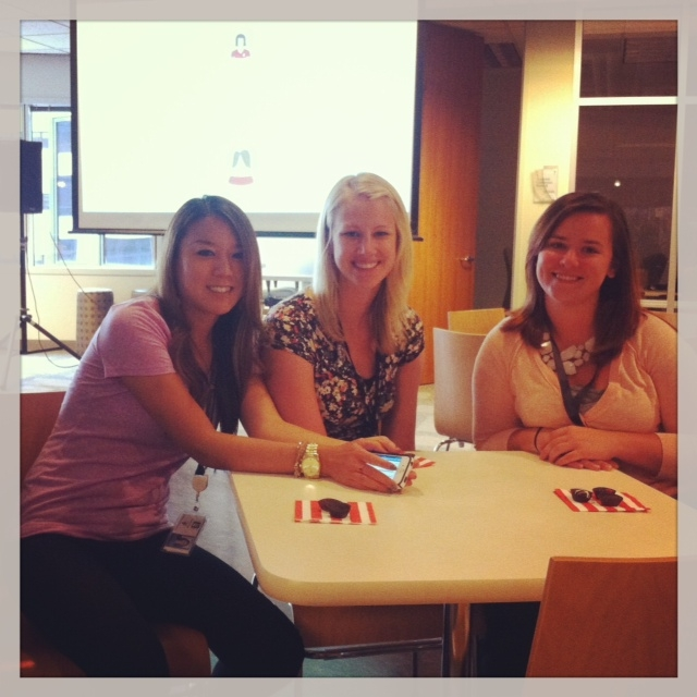 Capella employees Kalika, Sarah and Celia enjoying treats at the FlexPath celebration today.