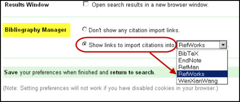 Screen shot of Google Scholar's bibliography manager options.