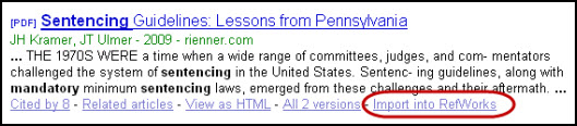 Screen shot of RefWorks link in a Google Scholar result.