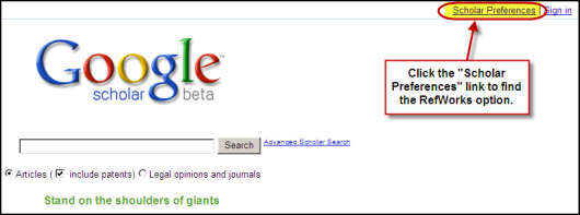 Google scholar preferences link location