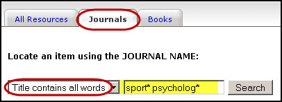 Journal and Book Locator search for sport* psycholog*