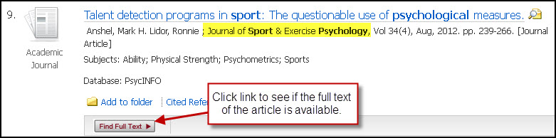 Find Full Text link in PsycINFO