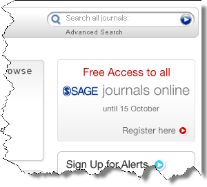 "Screen shot of Sage publications ""Free access to Sage Journals online"" link."