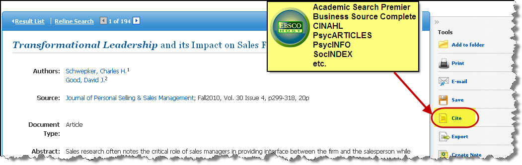 Screenshot of Cite link in Ebsco database
