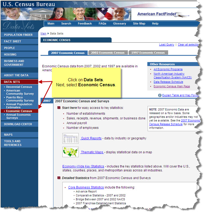US Census Bureau:  Link to Data Sets in navigation bar