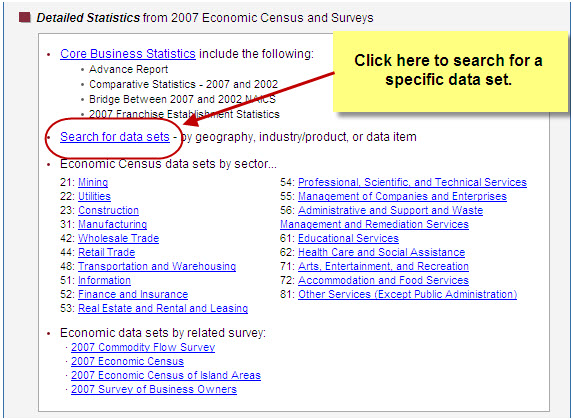 US Census Bureau:  Link to search data sets
