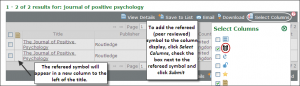 Screenshot showing how to add the peer reviewed symbol to results list