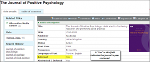 Screenshot showing peer reviewed status in complete record view