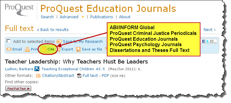 Screenshot of Cite icon in ProQuest