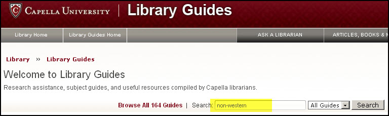 "Search for ""non-western"" in library guides"