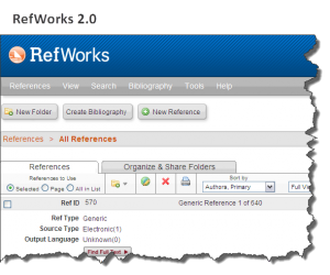 Screenshot of new RefWorks interface.