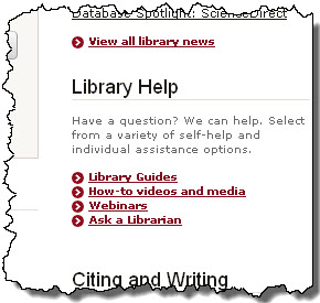 Library Help section from library home page