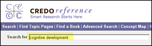 "Search for term ""cognitive development"" in Credo Reference database."
