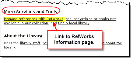 RefWorks link on the library home page