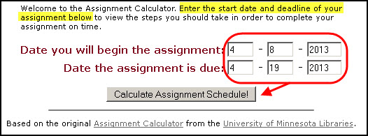 Screenshot of Assignment Calculator with dates entered